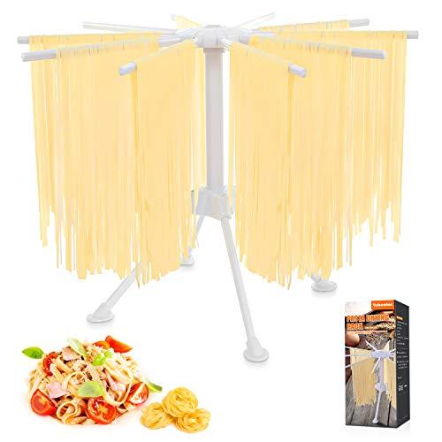 Tobeelec Nudeltrockner, Pastatrockner Nudelstände mit 10 Ausziehbare Sprossen für bis zu 2kg Nudeln Tassen Handtücher, Integrierter...