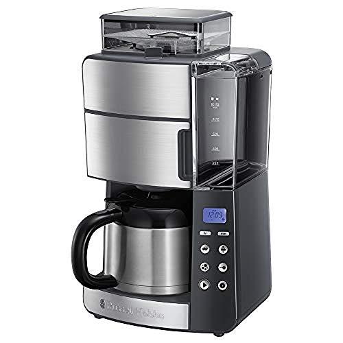 Russell Hobbs Kaffeemaschine mit Mahlwerk, Thermokanne 10 Tassen, digitaler programmierbarer Timer, 3-stufige Mahlgradeinstellung, 1000W, Filterkaffeemaschine...