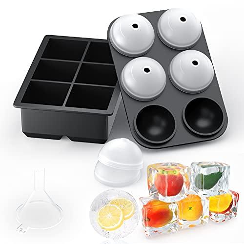 Grosse Eiswürfelform Silikon Eiswürfelbehälter mit Deckel, 6-Fach 2 Stück Große Eiswürfelformen, Quadratische und Eiskugelform Eiswürfelschalen für...