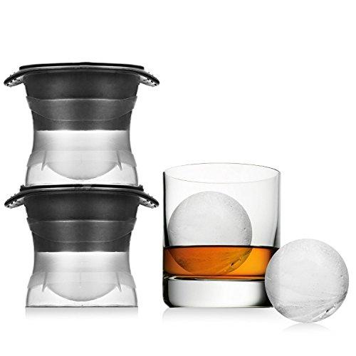 FUKIPRO XXL Eiskugelform für runde Jumbo Eiswürfel – Durchmesser 6 cm - 2er Set - Eiswürfelform aus Silikon - BPA-frei