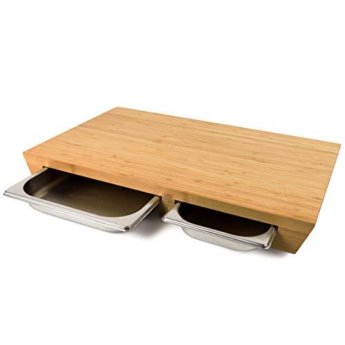 cleenbo Schneidebrett Duo Style Bamboo, extra großes Profi Holz Küchenbrett XXL, Schneidbrett groß massiv aus geöltem Bambus mit 2 Edelstahl Auffangschalen,...
