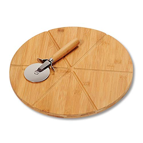 KESPER 58462 Pizzateller 32 cm aus Bambus mit extra Pizzaschneider/Holzteller/Pizzaunterlage/Pizza-Holzteller/Holzgeschirr