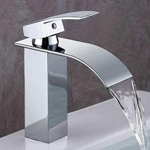 GAVAER Wasserfall Wasserhahn Bad, Einhandmischer Waschtischarmaturen,Kaltes und Heißes Wasser Vorhanden, Messing Verchromt, waschtischarmatur für bad Moderner...