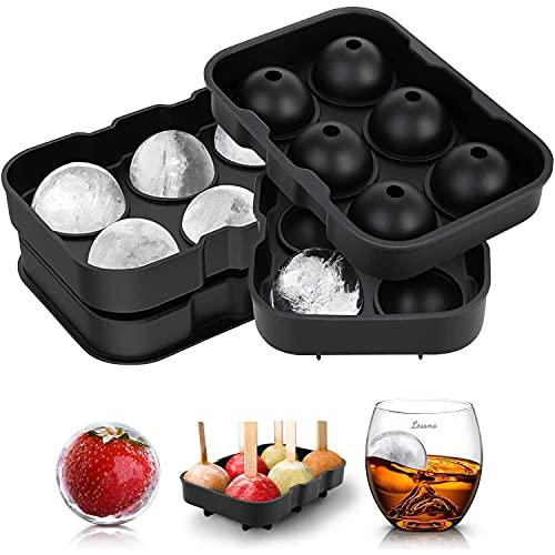 LessMo Giant Ice Cube Tray Round, 2 Packungen Silikon XXL Ice Cube Formen mit Deckel und Trichter, BPA-frei und FDA-Zugelassen, Schwarz, für Whisky, Cocktails...