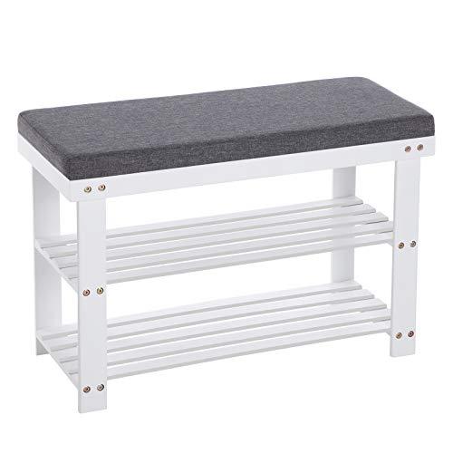 SONGMICS Schuhbank aus Bambus, Schuhregal mit 2 Regalebenen, Sitzbank, für Flur, Wohnzimmer, Sitzfläche bis 150 kg belastbar, 71 x 29 x 49 cm, weiß-grau...