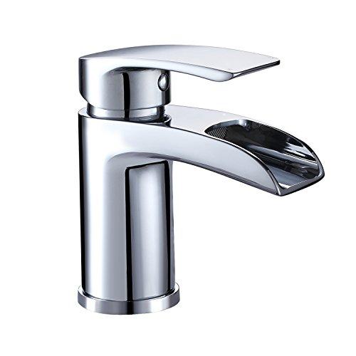 Design Wasserfall Wasserhahn Chrom Waschtischarmatur Einhebelmischer-Waschtischbatterie Bad Armatur für Badezimmer Waschbecken