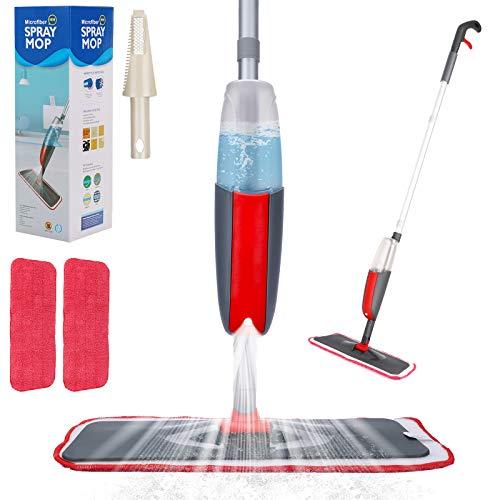Aiglam Sprühwischer,300ML Bodenwischer mit Sprühfunktion für schnelle Reinigung, Spray Mop mit Sprühdüse, Wischer mit Wassertank und 2-Mikrofaserbezug...