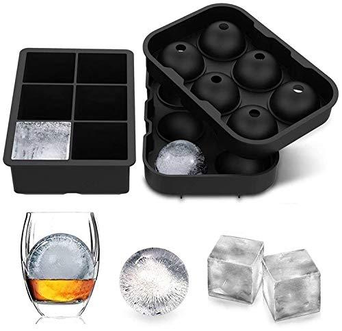 Eiswürfelform, 45mm Eiskugelform 48mm 6-Fach 2-Set Eiswürfelformen Silikon Eiswürfelbehälter Ice Cube Tray Eiswürfel Form BPA Frei für Whisky Cocktails...