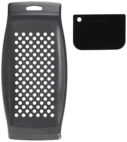 Fackelmann Spätzlereibe mit Teigschaber, Spätzlehobel aus Kunststoff, Spätzlepresse mit Teigkarte,1 Stück, Grau