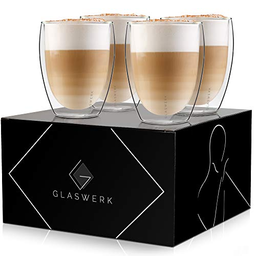GLASWERK Design Latte Macchiato Gläser (4 x 330ml) - doppelwandige Gläser aus Borosilikatglas - spülmaschinenfeste Teegläser - hochwertige Thermogläser