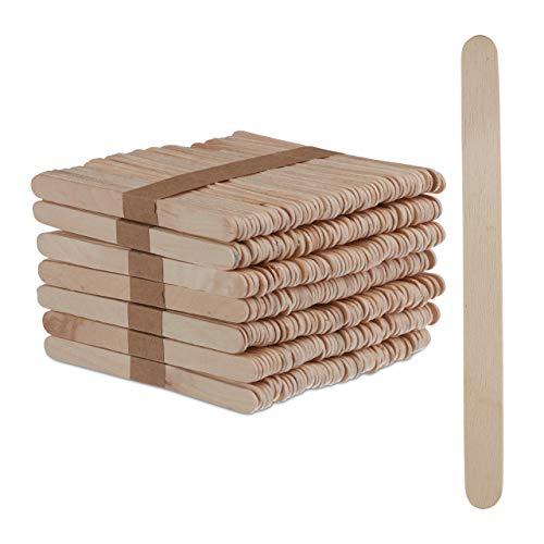 Relaxdays Eisstiele aus Holz, 500 Stück, Holzstäbchen, Basteln, Backen, DIY EIS am Stiel, HxB: 11,5 x 1 cm, Natur, Pack