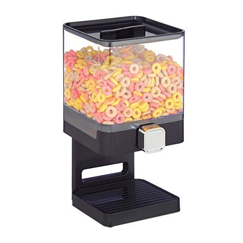 Relaxdays Müslispender, einzeln, Müsli & Süßigkeiten, Kunststoff, HBT: 31x16,5x18,5 cm, eckig, Cerealienspender, schwarz