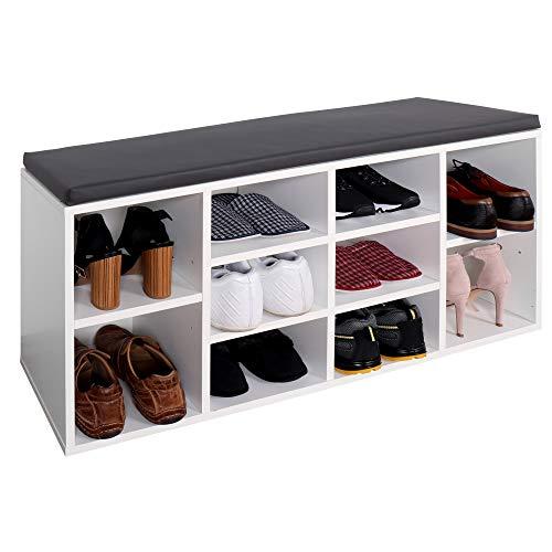 RICOO Schuhregal Sitzbank mit Stauraum 104x49x30 cm (WM033-W-A) Holz-Weiss Schuhschrank mit Sitz-Kissen (Grau) Schuhbank für Flur Schuh-Ablage