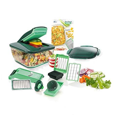Genius Nicer Dicer Chef (15 Teile) | Obstschneider, Gemüseschneider, Zwiebelschneider, Zerkleinerer, Gemüsehobel, Mandoline