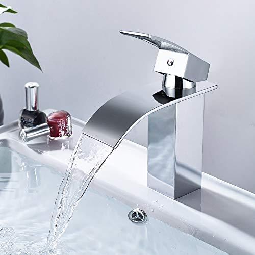 Dalmo Wasserhahn Bad, wasserfall Wasserhahn Badezimmer Waschbecken mit Geräuscharmem Keramischem Ventilkern, Heißes und Kaltes Wasser Vorhanden, Verchromt...