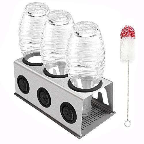 Cutemelo Premium Flaschenhalter aus Edelstahl für SodaStream Glasflaschen mit 3er Abtropfhalter für z.B. Crystal und Pinguin und andere Glasflaschen mit...
