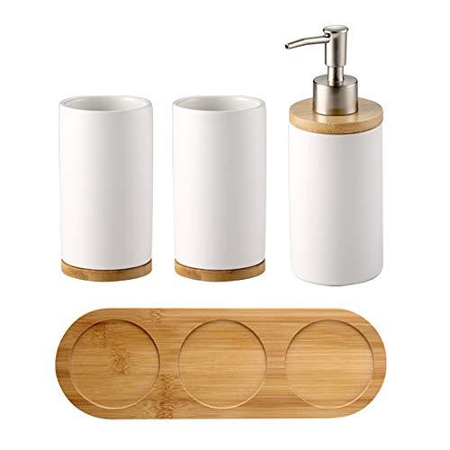 OnePine Badezimmer Accessoires Set Keramik, 4-teilig, Zahnbürstenhalter, Seifenspender, Bambus Fach, Zahnputzbecher