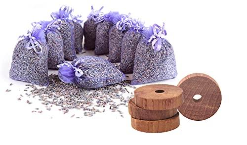 Quertee 10x Lavendelsäckchen & 30x Zedernholz Ringe   Lavendel Duftsäckchen   Zedernholz   Ohne Chemie   Duft im Kleiderschrank   Gegen Motten im...