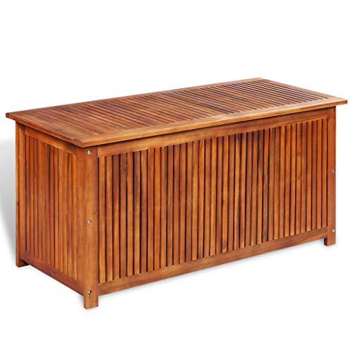mewmewcat Auflagenbox Holz Gartenbox Groß Holztruhe Kissenbox Aufbewahrungsbox Garten Gartentruhe Truhenbank mit Stauraum Sitztruhe, 117x50x58 cm Massivholz...