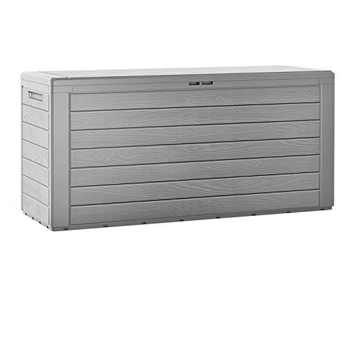 Casaria XXL Auflagenbox 300 L Holz-Optik Wasserabweisend Deckel Abschliessbar Garten Gartentruhe Gartenbox Truhe Grau