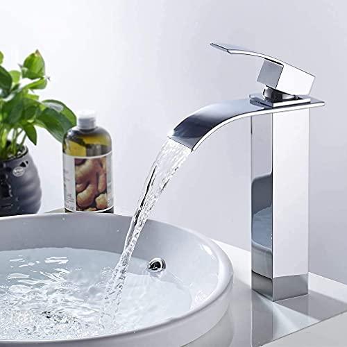 Solina Waschtischarmatur Wasserfall Wasserhahn Bad Mischbatterie Badarmatur Waschbeckenarmatur Waschbecken Badezimmer Hoch (Farbe Edelstahl)