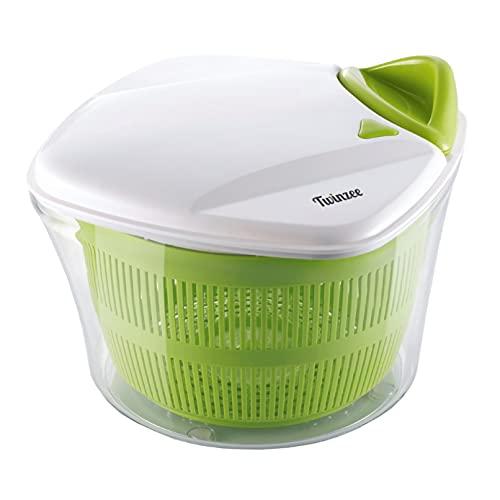 Twinzee Salatschleuder – großes Fassungsvermögen (5L) – Innovatives Design mit Ablaufsieb für das Wasser und einer Salatschüssel - Effektives und...
