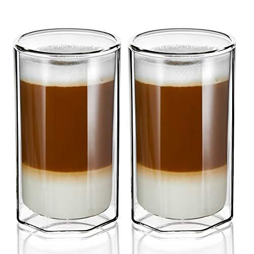 ZENS Doppelwandige Latte Macchiato Gläser, 400ml Unique Octagon Thermogläser 2er-Set, Klar Borosilikat-isolierter Teeglas Doppelwandig für Cappuccino oder...
