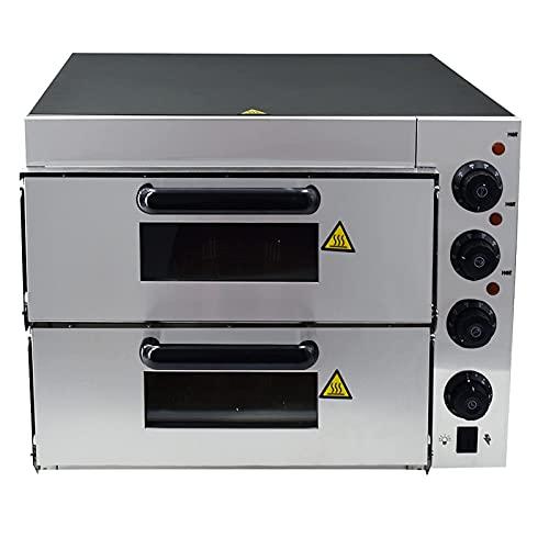 T-CAT Pizzaofen elektrisch 2 Kammer Edelstahl + Sprühfarbe Stahlplatte 3000W Gastro Pizzabackofen Pizza Ofen mit 16 ' Schamotteboden