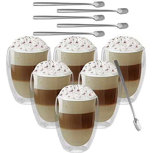 GoMaihe Latte Macchiato Doppelwandige Gläser 350ml 6er Set und 6 Löffel, Cappuccino Tassen Eiskaffee Becher Kaffeetasse Teegläser Thermogläser Doppelwandig,...