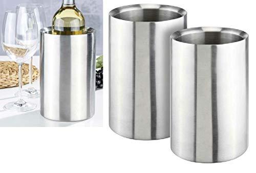 Oramics 2er Set Flaschenkühler Weinkühler komplett aus Edelstahl 12,5x12,5x19cm - Getränkekühler kippsicher bruchfest - Doppelwandige Vakuumisolierung für...