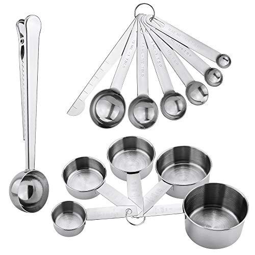 Jooheli Edelstahl Messbecher und Löffel mit Messlineal, 5 Cup Messbecher 6 Messlöffel Set Scoop mit Clip und 1 Messlineal, Küche Umrechnungstabelle Set von...