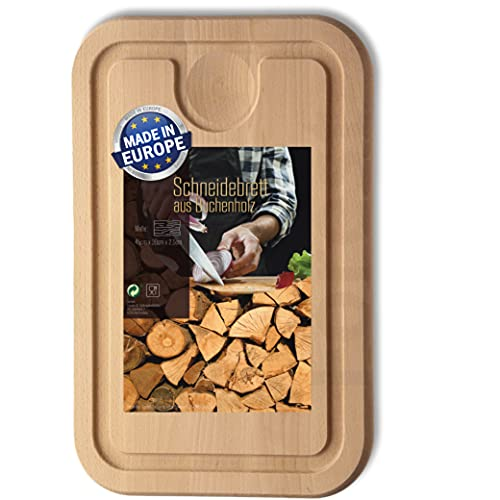 NEU: Schneidebrett Holz 45 cm x 30 cm groß mit Saftrille und Auffangschale | plastikfreies Holzbrett Buchenholz massiv aus Europa, kein Bambus | Küchenbrett...