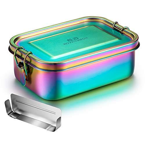 G.a HOMEFAVOR Edelstahl Brotdose Bento Box Auslaufsich Metall Lunchbox 800ml mit Herausnehmbarer Trennwand Vesperdose Sandwichbox für Kinder und Erwachsene,...