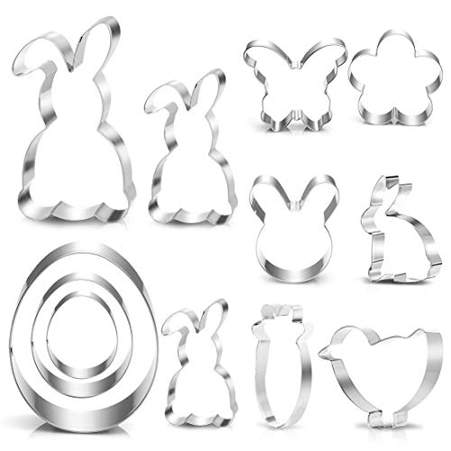 Ausstecher Ostern, Plätzchen Ausstecher Ostern, 12 Stück Ausstechformen Ostern Set, Keksausstecher Ostern für Backen, Hase, Karotte, Küken, Ei,...