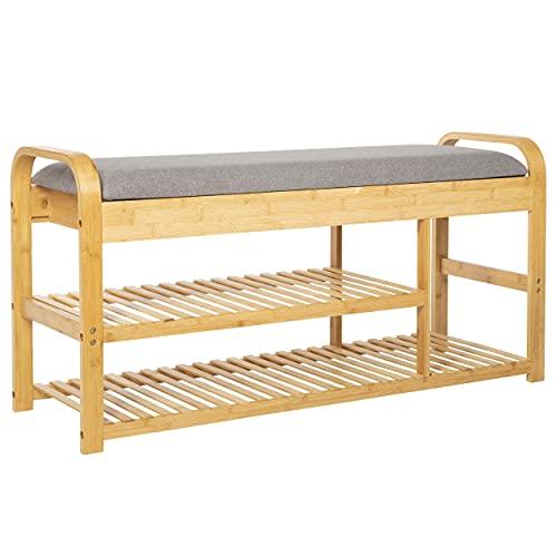 ONVAYA® Bambus Schuhregal mit Sitzbank   Schuhbank mit Sitzfläche   Garderobenbank mit Stauraum   Bank gepolstert mit Schuhablage   Schuhständer aus Holz  ...