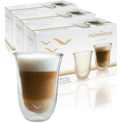 Mövenpick 6 x Latte Macchiato Gläser 300 ml - Spülmaschinengeeignete doppelwandige Gläser - Thermogläser geeignet als Teegläser und Kaffeegläser