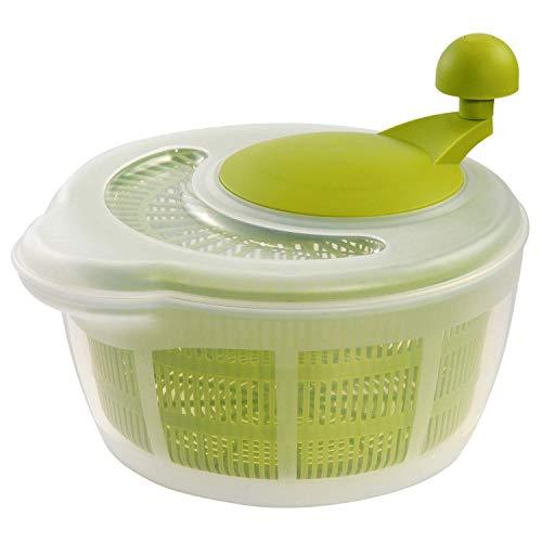 Westmark Salatschleuder, Fassungsvermögen: 5 Liter, ø 26 cm, Kunststoff, BPA-frei, Fortuna, Farbe: Transparent/Grün, 243222E1