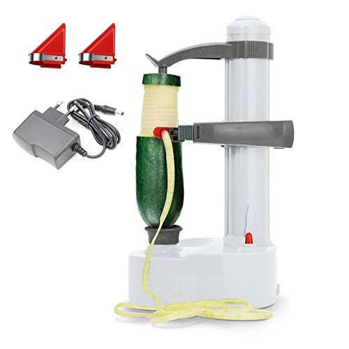 Malayas Elektro-Kartoffelschäler [2 Extra Klingen] - Automatische rotierende Früchte & Gemüse Cutter Apple Schälmaschine - Kitchen Peeling Tool (Weiß)