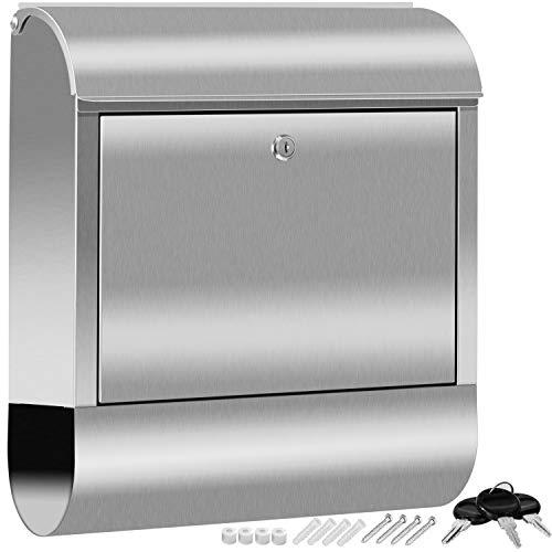 KESSER® XXL Briefkasten Edelstahl mit Zeitungsfach, gebürstet, 3x Schlüssel abschließbar, Pulverbeschichtet, Wandmontage, groß Front-Einwurf: DIN C4 = DIN...