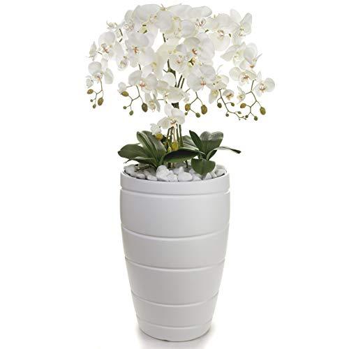 Künstliche Orchidee   120 cm hoch   Pflanze Dekoration Weiß  Übertopf XXL   TOP Qualität   Handarbeit