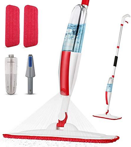 Panda Grip Bodenwischer mit Sprühfunktion,Sprühwischer für Bodenreinigung Schnelle Reinigung Spray Mop Wischmopp mit 400ml Wassertank und 2-Mikrofaserbezug