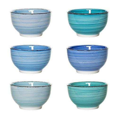 esto24 Design 6er Set Müslischalen Dessertschale 750ml Keramik n tollen Farben - Das Highlight auf jedem Tisch (Müsli Blau)