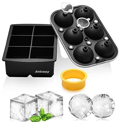 Eiswürfelbehälter, Ankway 5 cm Silikon-Eisformen-Set für Eiskugeln und Eiswürfel mit Deckel und großer quadratischer Form für Gefrierschrank, Whisky,...