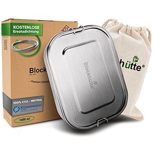 Blockhütte. Premium Edelstahl Brotdose I 1400ml I Inkl. Austauschdichtung & Trennwand. I Die verbesserte Lunchbox ist auslaufsicher. & kinderleicht zu...