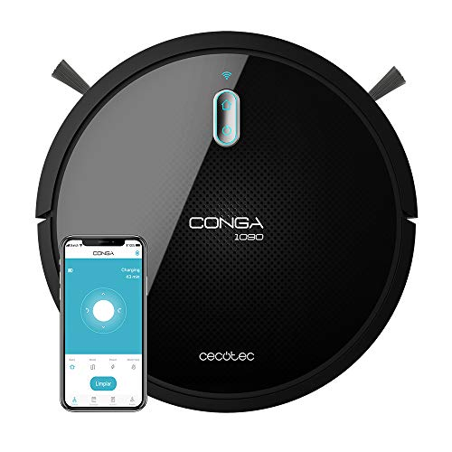 Cecotec Roboter-Conga-Sauger Serie 1090 angeschlossen. Mit App, kompatibel mit Alexa und Google Home mit spezieller Tierbürste, Magnetwand, 1400 Pa Absaugung,...
