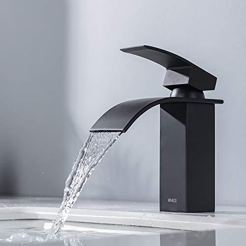 ONECE Schwarz Wasserhahn Wasserfall Armatur für Waschbecken Wasserfallarmatur Mischbatterie Einhebelmischer Badarmatur Waschtischarmatur