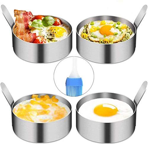 YAOYIN Pancake Form Egg Ring, 4 Pack 9cm Spiegeleiform Ei Ring zum Kochen von Spiegelei/Pfannkuchen/Omeletts und mehr, Antihaftbeschichtung,...