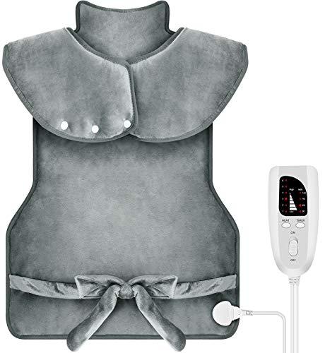 DIZA100 Heizkissen für Rücken Schulter Nacken,94 x 56 cm Elektrisch Wärmekissen mit Abschaltautomatik Heizdecke mit 6 Temperaturstufen und 4...