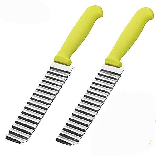 Kartoffelschneider,BETOY 2 Stück Wellenschneider aus Edelstahl Einfach zu Verwenden Gemüseschneider, Wellenschneider Crinkle Chip Cutter wendeVert für...