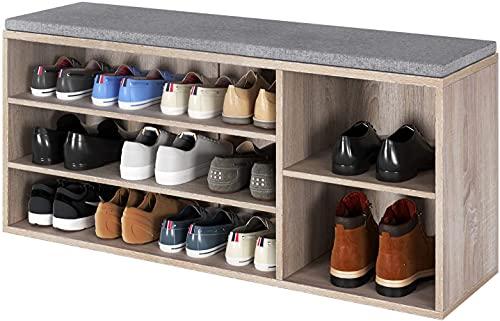 Schuhregal Sitzbank mit Sitzkissen Schuhbank Schuhtruhe aus Holz Schuhablage mit 3 Etagen für Flur 105x30x48cm (braun)